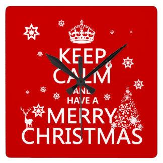 Behalten Sie Ruhe und haben Sie frohen Weihnachten Quadratische Wanduhr