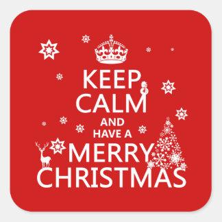 Behalten Sie Ruhe und haben Sie frohen Weihnachten Quadratischer Aufkleber