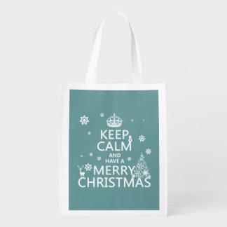 Behalten Sie Ruhe und haben Sie frohen Weihnachten Wiederverwendbare Einkaufstasche