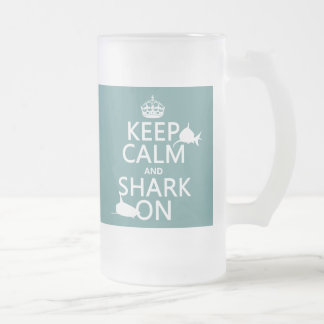 Behalten Sie Ruhe und Haifisch auf (kundengerechte Mattglas Bierglas