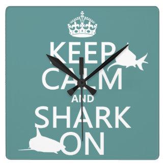 Behalten Sie Ruhe und Haifisch auf (kundengerechte Quadratische Wanduhr