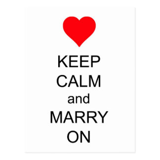 Behalten Sie Ruhe und heiraten Sie auf rotem Postkarten