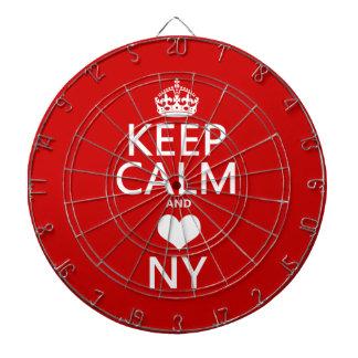 Behalten Sie Ruhe und Herz New York Dartscheibe