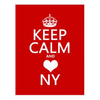 Behalten Sie Ruhe und Herz New York Postkarte
