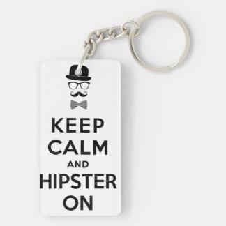 Behalten Sie Ruhe und Hipster an Beidseitiger Rechteckiger Acryl Schlüsselanhänger