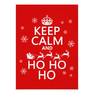 Behalten Sie Ruhe und Ho Ho Ho - Weihnachten/Sankt 14 X 19,5 Cm Einladungskarte