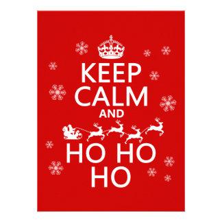 Behalten Sie Ruhe und Ho Ho Ho - Weihnachten Sankt Individuelle Ankündigungskarte