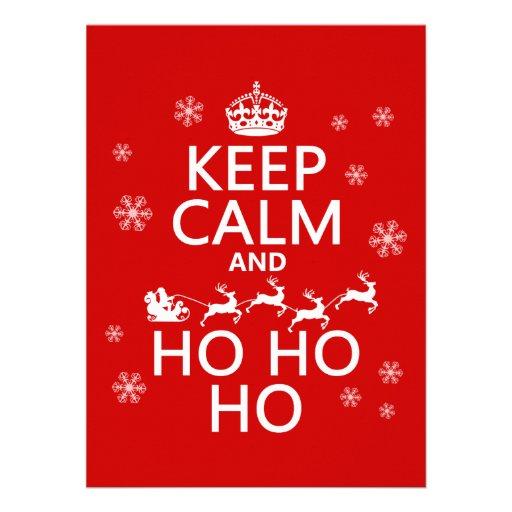 Behalten Sie Ruhe und Ho Ho Ho - Weihnachten/Sankt Individuelle Ankündigungskarte