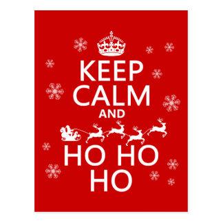 Behalten Sie Ruhe und Ho Ho Ho - Weihnachten/Sankt Postkarte