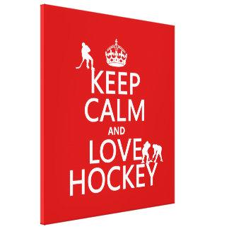 Behalten Sie Ruhe und Hockey an Leinwanddruck