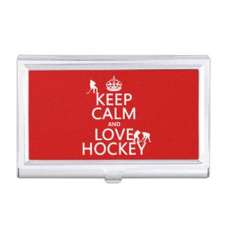 Behalten Sie Ruhe und Hockey an Visitenkarten Dose