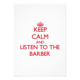 Behalten Sie Ruhe und hören Sie auf den Friseur Individuelle Einladungskarte