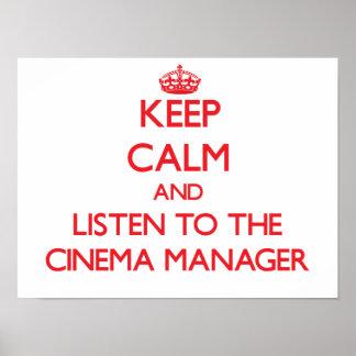 Behalten Sie Ruhe und hören Sie auf den Plakatdrucke