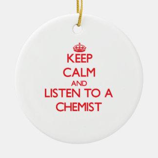 Behalten Sie Ruhe und hören Sie auf einen Chemiker Weihnachtsbaum Ornament