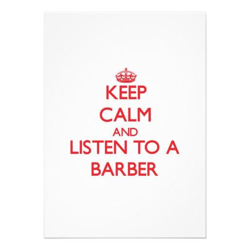 Behalten Sie Ruhe und hören Sie auf einen Friseur Ankündigungen