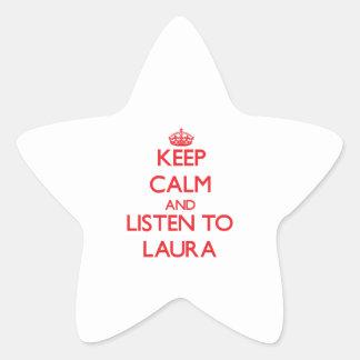 Behalten Sie Ruhe und hören Sie auf Laura Stern-Aufkleber