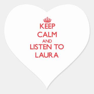 Behalten Sie Ruhe und hören Sie auf Laura Herz-Aufkleber