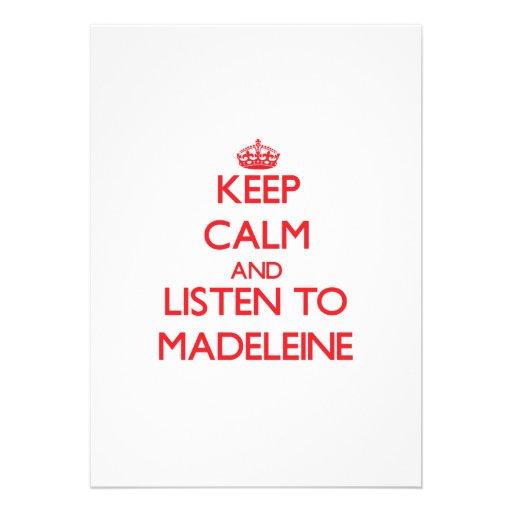 Behalten Sie Ruhe und hören Sie auf Madeleine Individuelle Einladungskarte