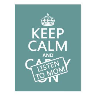 Behalten Sie Ruhe und hören Sie auf Mamma (in Postkarte