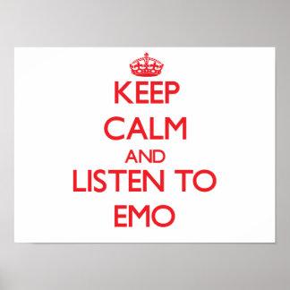 Behalten Sie Ruhe und hören Sie zu EMO Plakate