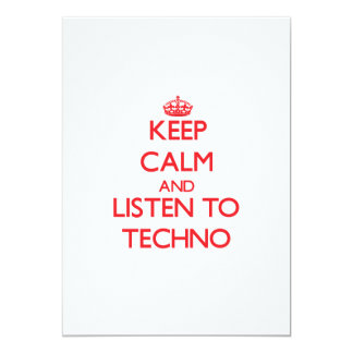 Behalten Sie Ruhe und hören Sie zu TECHNO Personalisierte Einladungskarte