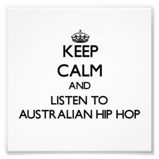 Behalten Sie Ruhe und hören Sie zum AUSTRALISCHEN Kunstfotos