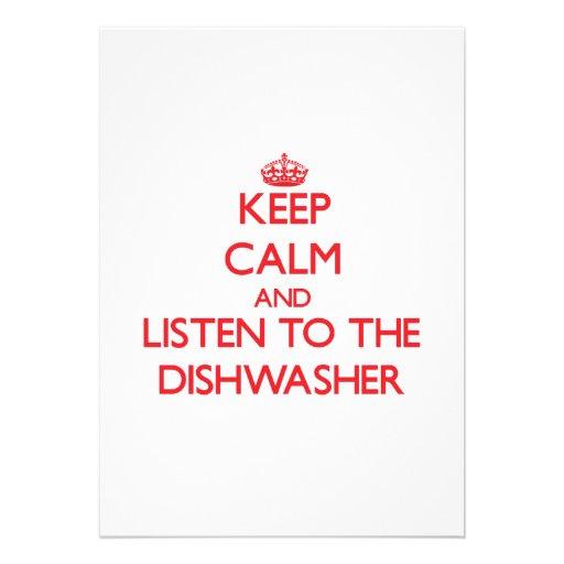 Behalten Sie Ruhe und hören Sie zur Spülmaschine Individuelle Ankündigskarten