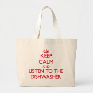 Behalten Sie Ruhe und hören Sie zur Spülmaschine Leinentasche