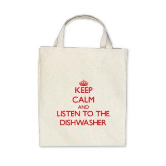 Behalten Sie Ruhe und hören Sie zur Spülmaschine Leinentaschen