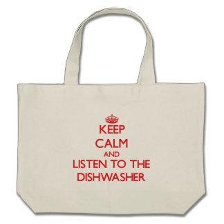 Behalten Sie Ruhe und hören Sie zur Spülmaschine Tasche