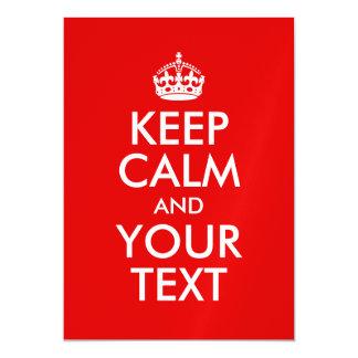 Behalten Sie Ruhe und Ihr Text-Rot Magnetische Karte