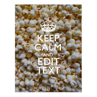 BEHALTEN Sie RUHE UND Ihren Text auf Popcorn-Dekor Postkarte