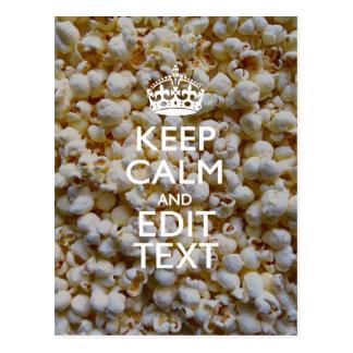 BEHALTEN Sie RUHE UND Ihren Text auf Popcorn-Dekor Postkarten