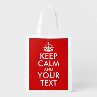 Behalten Sie Ruhe und Ihren Text Wiederverwendbare Einkaufstasche