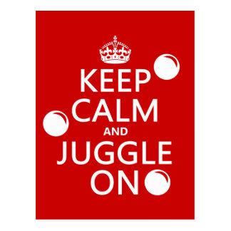 Behalten Sie Ruhe und jonglieren Sie auf (in Postkarte