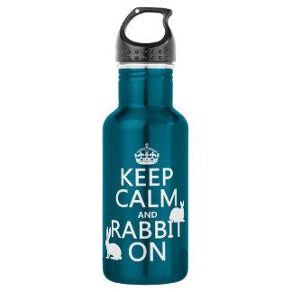 Behalten Sie Ruhe und Kaninchen an - alle Farben Trinkflasche