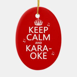 Behalten Sie Ruhe und Karaoke (fertigen Sie Farbe) Keramik Ornament