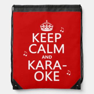 Behalten Sie Ruhe und Karaoke (fertigen Sie Farbe) Turnbeutel