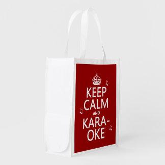 Behalten Sie Ruhe und Karaoke (fertigen Sie Farbe) Wiederverwendbare Einkaufstasche