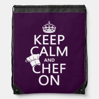 Behalten Sie Ruhe und Koch an Turnbeutel
