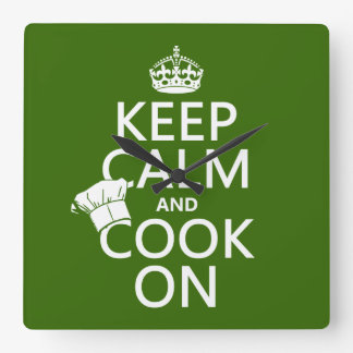 Behalten Sie Ruhe und kochen Sie an Quadratische Wanduhr