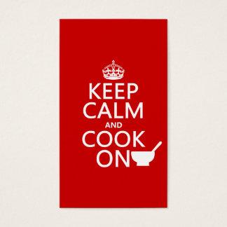 Behalten Sie Ruhe und kochen Sie an Visitenkarte