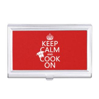 Behalten Sie Ruhe und kochen Sie an Visitenkarten Dose