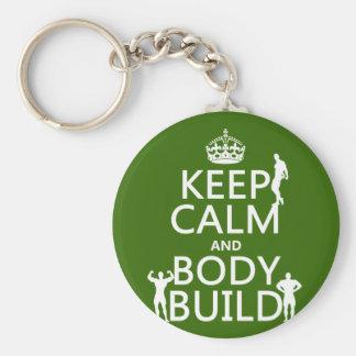 Behalten Sie Ruhe-und Körper-Gestalt Schlüsselanhänger