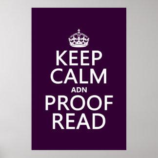 """Behalten Sie Ruhe """"und"""" Korrektur gelesen (ADN) Poster"""