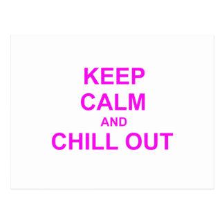 Behalten Sie Ruhe und kühlen Sie heraus rotes rosa Postkarte