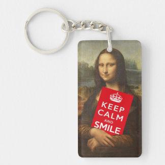 Behalten Sie Ruhe und lächeln Sie Beidseitiger Rechteckiger Acryl Schlüsselanhänger