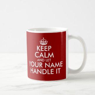 Behalten Sie Ruhe und lassen Sie Griff es Tasse