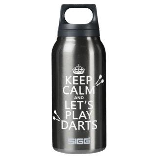 Behalten Sie Ruhe und lassen Sie uns Pfeile Isolierte Flasche