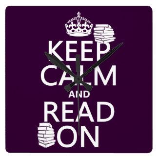 Behalten Sie Ruhe und lesen Sie auf (in Quadratische Wanduhr